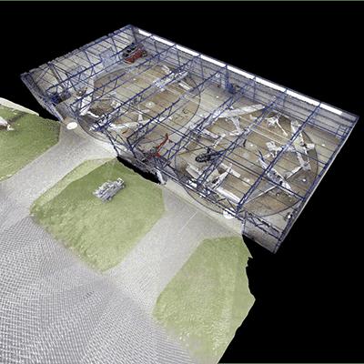 3-D-Visualisierung Flugzeugrechteck-Hangar Mit 2 Drehtellern